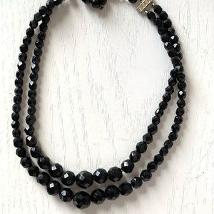 Vintage Jewelry - 2 strand black faceted glass Mourning Necklace